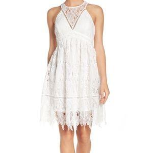 SALE ! Chelsea28 white crochet lace overlay dress